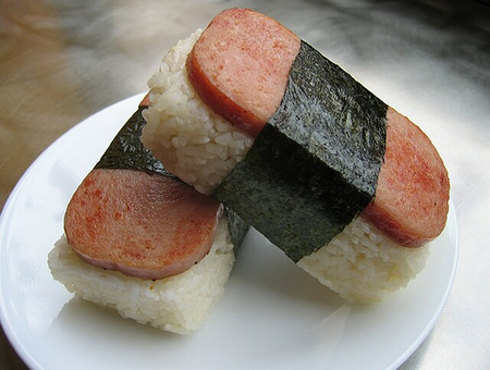 Sapm musubi.  Photo by Mark Peiklo via ukumillion